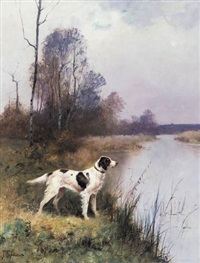 a setter in an extensive landscape by j. renaud