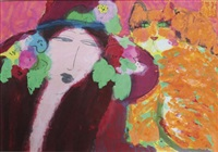 femme au chat orange by walasse ting