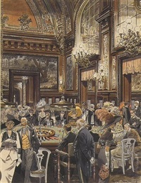 crowd at roulette table in elegant victorian casino by leslie saalburg
