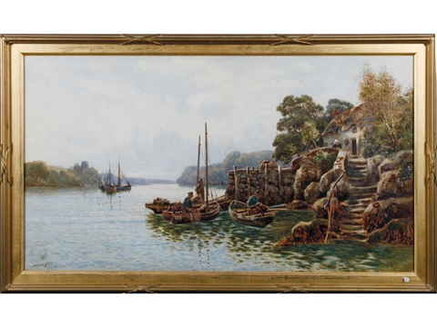 fishermen in rowing boats with their lobster pots coming in for the day a woman beside her thatched cottage in the foreground by walter stuart lloyd