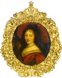 portrait of a lady in a red dress and a pearl necklace, before an open landscape by pierre mignard the younger