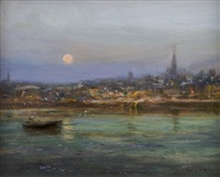 moonrise over wexford town by paul kelly