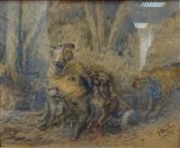 l'attaque du sanglier par trois chiens by joseph oberthür
