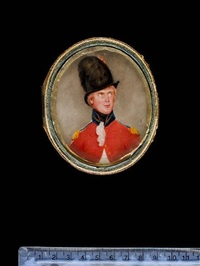 an officer, wearing red coatee with blue and gold collar and epaulettes, white waistcoat, frilled chemise and tied black stock, tall black hat decorated with black, red and white plumes by samuel andrews