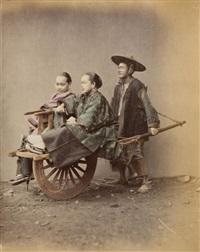 deux femmes transportées dans une charrette à bras par un coolie by raimund von (baron) stillfried-rathenitz
