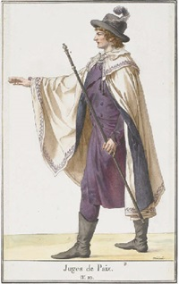 a justice of the peace gesturing to the left (costume design) by jean francois léonor merimee