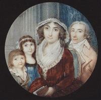 a family group: the mother wearing brown dress with white fichu and white lace bonnet, she holds a book; to her right, her son and daughter, to her left, her husband by francesco rastaini