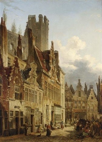 a busy market scene in the streets of ghent by françois jean louis boulanger
