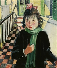 young girl with green scarf by helena adele dunlap