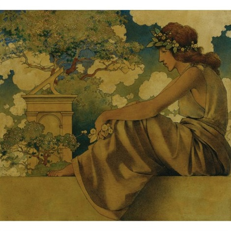 seated woman by maxfield parrish