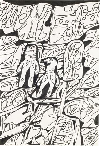 paysage avec deux personnages by jean dubuffet