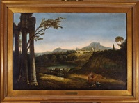 a courtly couple making music in a pastoral landscape with ruins by claude lorrain