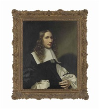 portrait of a man, half-length, in a black gown by christoffel pierson