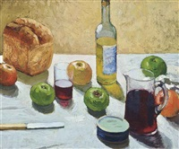 still life with bread and wine by pierre adolphe valette