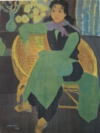 seated lady in green by linh chi