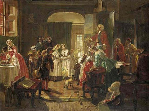 hogarths studio 1739 holiday visit of foundlings to view the portrait of captain coram by edward matthew ward