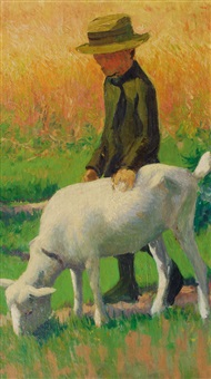 boy with a goat (preliminary study for three children with a goat) by franz nölken