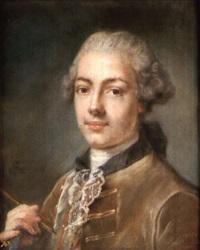 portrait d'un artiste tenant un porte crayon by claudia mercadier
