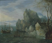 a rocky coastal landscape with figures on the shore and a moored galley by carel liefrinck