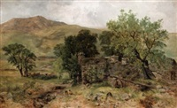 the old mill at nantlle, caernarvonshire, wales by john wright oakes