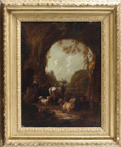 chèvres dans un paysage by dirk van bergen