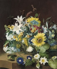 still life of lillies, sunflowers, and convolvulus by mary lawrence