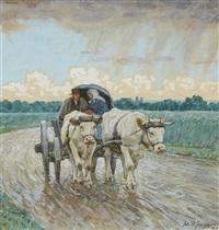 an ox cart in the rain by julius paul junghanns