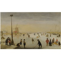 a winter landscape with figures skating and playing kolf by hendrick avercamp