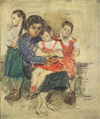 veronica and her daughters by raphael soyer