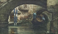 gondoliers on a venetian backwater by vincenzo cabianca