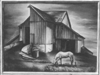 horse by the barn by grace thorp gemberling