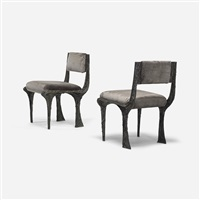 custom sculpted metal chairs, pair by paul evans