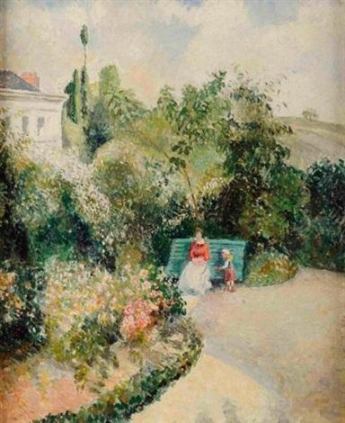 femme et enfant dans un jardin by georges manzana pissarro