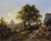 landschaft mit kleinem dorf und figürlicher staffage by joseph altenkopf