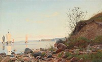 coastal scene a summer day with numerous sailing ships on the sea by carl (jens erik c.) rasmussen