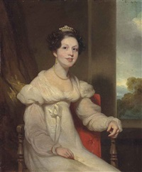 portrait of a lady, seated small three-quarter length in an interior, a landscape beyond by george chinnery