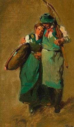 heimkehrendes bauernpaar study by karl raupp