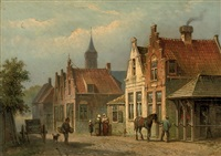 daily activities in a sunlit street by eduard alexander hilverdink