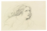 study of a veiled woman, three quarter profile, facing right by jacques-louis david