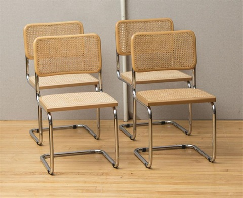 Set Of Four Marcel Breuer Chrome And Caned Chairs By Marcel Breuer