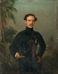 portrait of an officer (+ 2 others; 3 works) by ferdinand krumholz