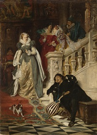 the first meeting of mary stuart and rizzio by david (dalhoff) neal