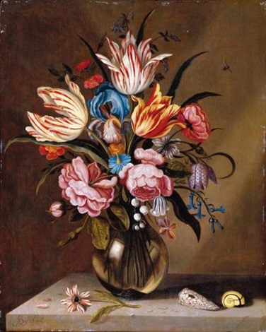 a still life of pink roses striped tulips a blue iris a striped anemone fritallary lily of the valley columbine and bluebells in a glass vase on a stone ledge with two shells by abraham bosschaert