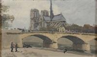le pont de l'archevêché et notre-dame by jean constant raymond renefer