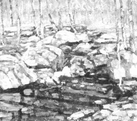 stream through rocky woods by charles salis kaelin