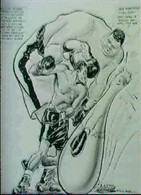two sports cartoons. tougher than ezzard charles and    los bills in buffalo by willard mullin