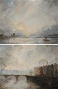 dublin port and the four courts (+ capel street bridge, dublin; pair) by leo earley