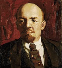 portrait of vladimir lenin with red background by andrei usman nazmutdinovich abdulov