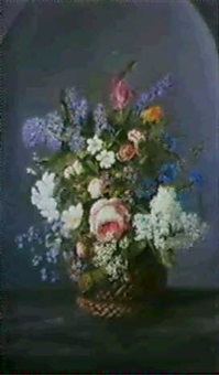 a still life of assorted flowers including lilac, tulips,  forget-me-nots and roses... by pierre le riche