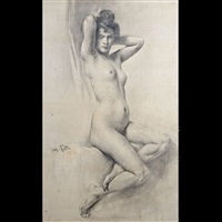 nudo femminile seduto by caspar ritter